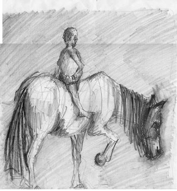 Man and horse sketch